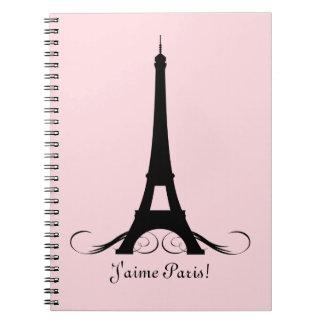 Pink Eiffel Tower J'aime Paris! Spiral Notebooks