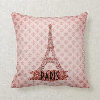 Pink Eiffel Tower Paris Fleur De Lis Pattern Throw Pillow