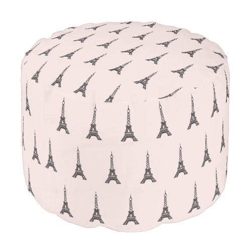 Pink Eiffel Tower Paris Ottoman Pillow Pouf