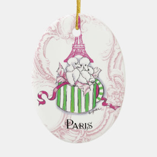Pink Eiffel Tower Poodles in Hatbox Ceramic Ornament