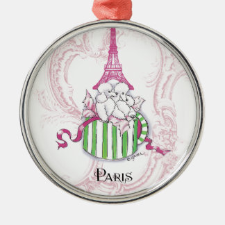 Pink Eiffel Tower Poodles in Hatbox Metal Ornament