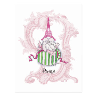 Pink Eiffel Tower Poodles in Hatbox Postcard