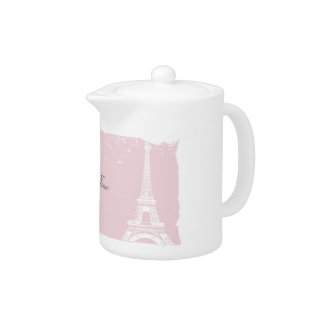 Pink Eiffel Tower Porcelain Tea Pot