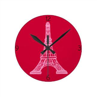 Pink Eiffel Tower Round Clock