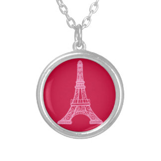 Pink Eiffel Tower Round Pendant Necklace