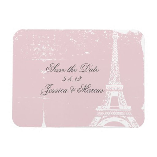 Pink Eiffel Tower Save the Date Wedding Magnets