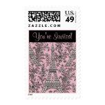 Pink Eiffel Tower Stamp