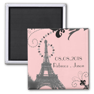 pink eiffel tower vintage paris save the date 2 inch square magnet