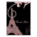 pink eiffel tower vintage paris thank you card