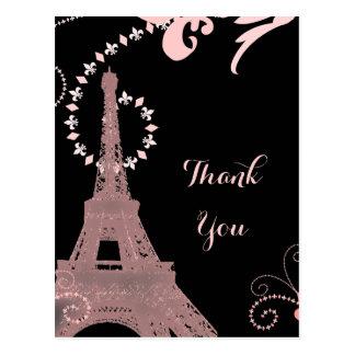 pink eiffel tower vintage paris thank you postcard