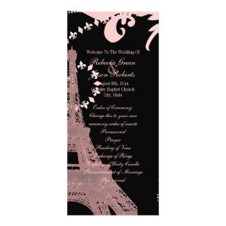 pink eiffel tower vintage paris wedding programs custom rack card