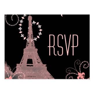 pink eiffel tower vintage paris wedding rsvp postcard