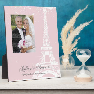 Pink Eiffel Tower Wedding Photo Plaque