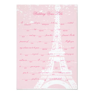 Pink Eiffel Tower Wedding Vows Libs Game 5x7 Paper Invitation Card