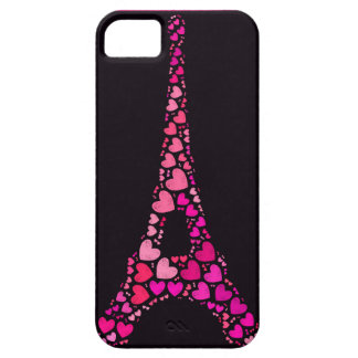 Pink Eiffel Tower with hearts iPhone 5 Cover