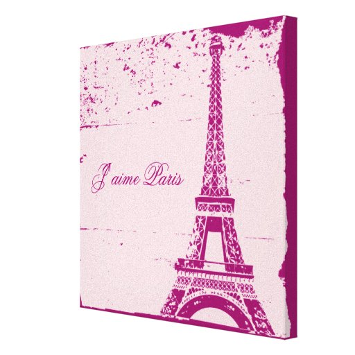 Pink Eiffel Tower Wrapped Canvas Art Canvas Print | Zazzle