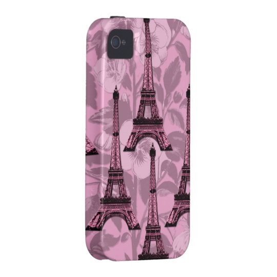 Pink Eiffel Towers iPhone 4/4S Tough Cover