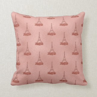Pink Eiffel Towers Pattern Girly Rose Gold Foil Throw Pillow