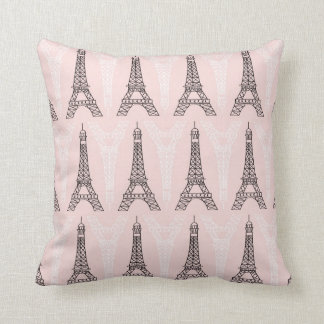 Pink Eiffel Towers Pattern Throw Pillow