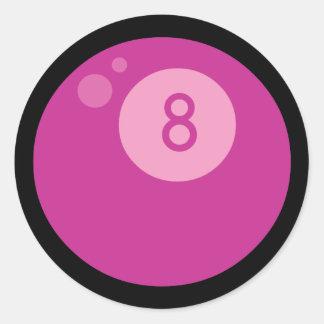 Pink Eightball Classic Round Sticker