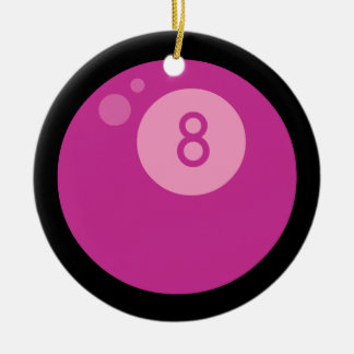Pink Eightball Double-Sided Ceramic Round Christmas Ornament