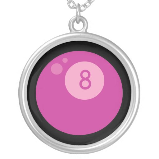 Pink Eightball Round Pendant Necklace