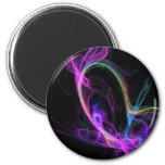 Pink Electric Fractal 2 Inch Round Magnet