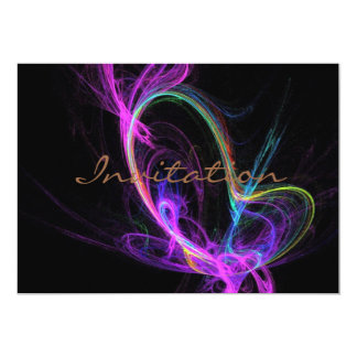 Pink Electric Fractal 13 Cm X 18 Cm Invitation Card