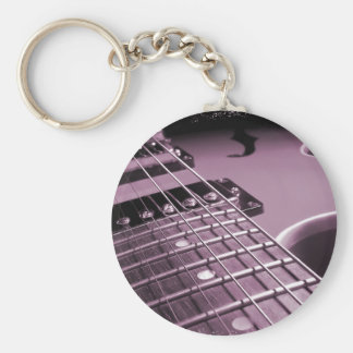 Pink Electric Guitar Close-up Keychain