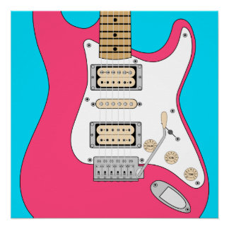Pink Electric Guitar Poster