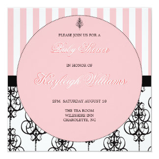 Pink Elegance Baby Shower 5.25x5.25 Square Paper Invitation Card