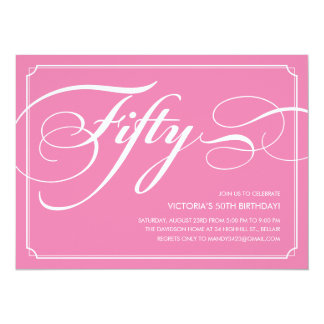 Pink Elegant 50th Birthday Invitations