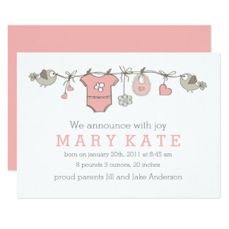 Pink elegant baby girl clothes announcement