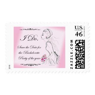 Pink elegant Bachelorette Party Design Postage