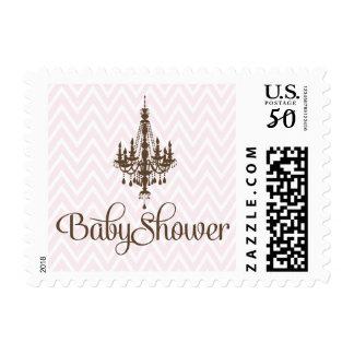 Pink elegant chandelier baby girl shower stamps