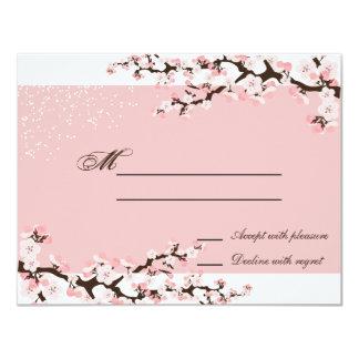Pink Elegant Cherry Blossom Wedding Response RSVP Personalized Invitation