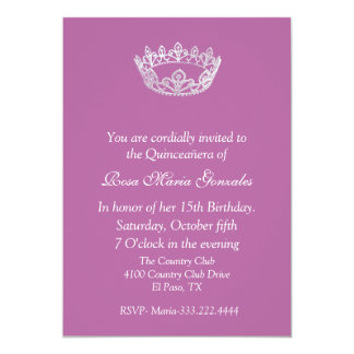 Pink Elegant Crown Quinceañera Invitation