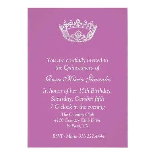 Pink Elegant Crown Quinceanera Invitation