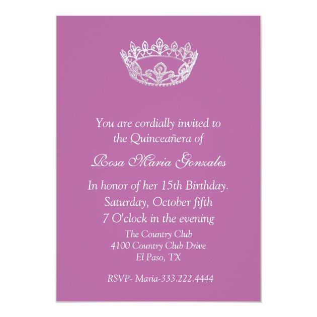 Pink Elegant Crown Quinceañera Invitation   Zazzle.com