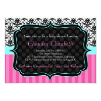 Pink, Elegant, Damask Baby Shower Invitation