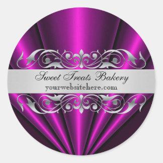 Pink Elegant Fan Cupcake Baking Label Sticker