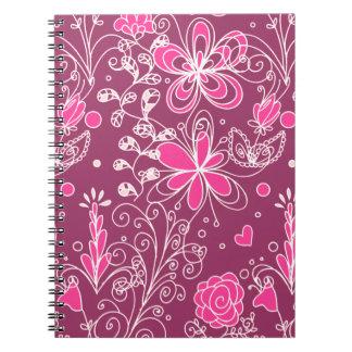 Pink Elegant Floral Pattern Spiral Note Books