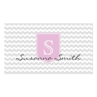 Pink elegant group of waves and monograma clearly business cards
