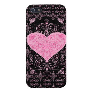 Pink Elegant Lace Heart Pattern iPhone 5 Cases