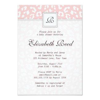 Pink Elegant Leopard Print Monogram Baby Shower Personalized Announcement