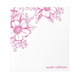 Pink Elegant Letterpress Style Florals notepad
