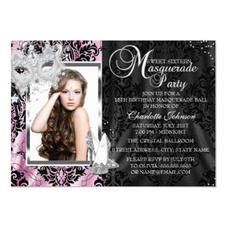 Pink Elegant Mask & Heels Masquerade Photo Sweet16 5x7 Paper Invitation Card