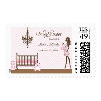 Pink elegant nursery baby girl shower stamps