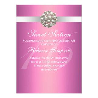Pink Elegant Pearl Sweet 16 Birthday Invitation