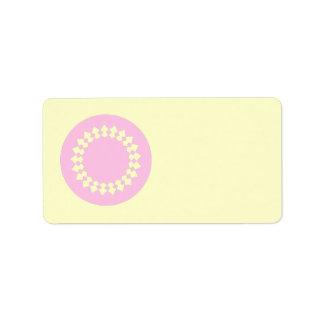 Pink Elegant Round Design. Art Deco Style. Label